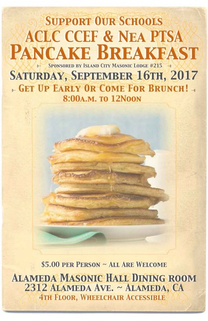 Pancake Breakfast September 16, 2017